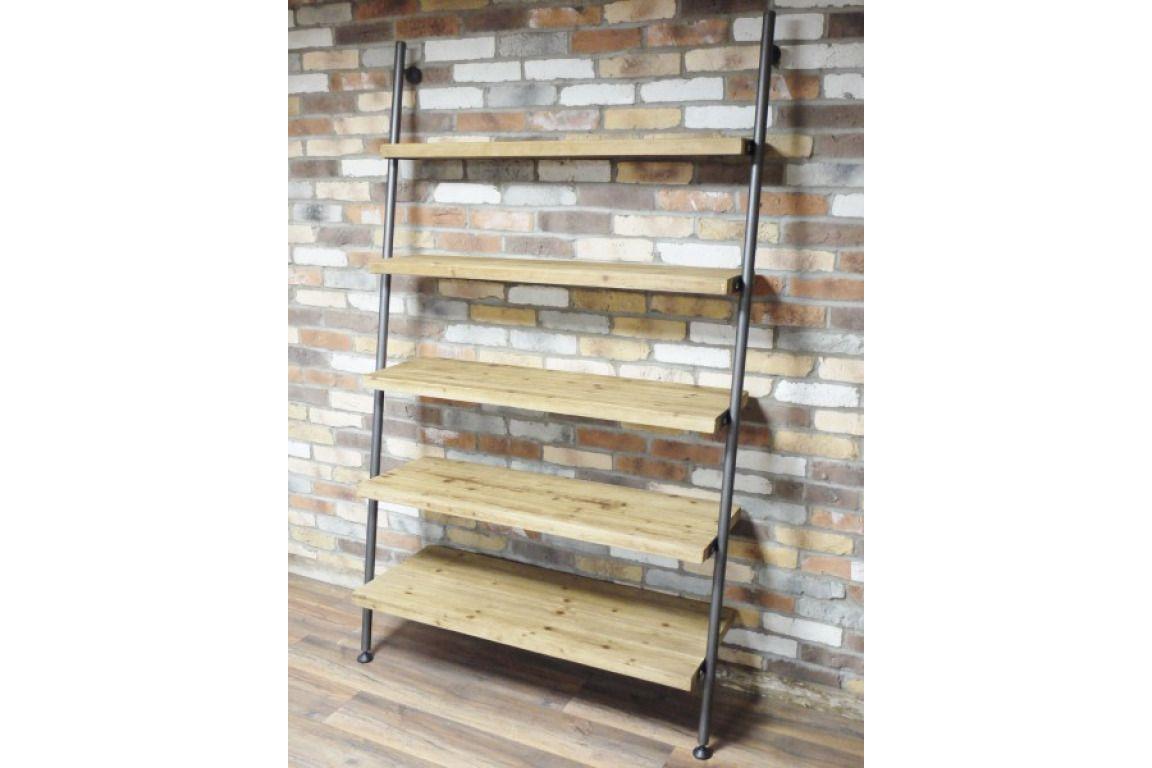 Industrial Reclaimed Rustic Wood Metal Lean To Ladder